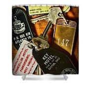 Vintage Hotel Keys Shower Curtain