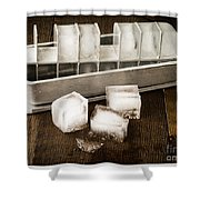 Vintage Ice Cubes Shower Curtain by Edward Fielding