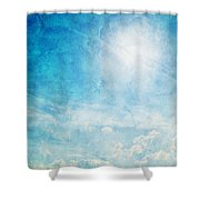 Vintage Image Of Sunny Blue Sky Shower Curtain