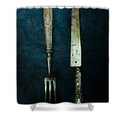 Vintage In Blue Shower Curtain