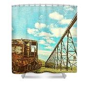 Vintage Industrial Postcard Shower Curtain