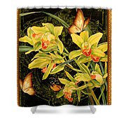 Vintage Iris And Butterflies Shower Curtain