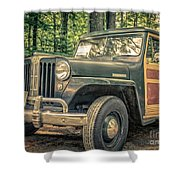 Vintage Jeep Station Wagon Shower Curtain