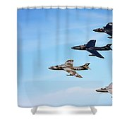 Vintage Jetplanes In Formation. Shower Curtain