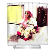 Vintage Just Sitting 2 - Woman Portrait - Indian Village Rajasthani Shower Curtain
