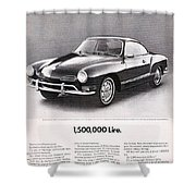Vintage Karmann Ghia Advert Shower Curtain