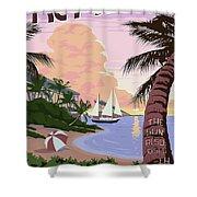 Vintage Key West Travel Poster Shower Curtain
