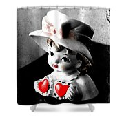 Vintage Lady Head Vase - Black And White With Red Shower Curtain