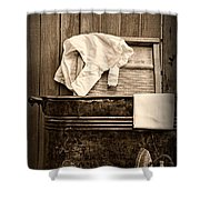 Vintage Laundry Room In Sepia	 Shower Curtain