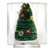Vintage Lighted Christmas Tree Decoration Shower Curtain