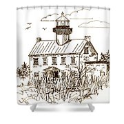 Vintage Lines Of East Point Lighthouse Shower Curtain