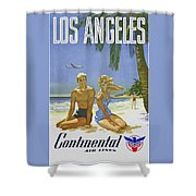 Vintage Los Angeles Travel Poster Shower Curtain
