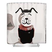 Vintage Lucky Dog Shower Curtain by Jennifer Rondinelli Reilly - Fine Art Photography