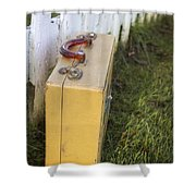 Vintage Luggage Left By A White Picket Fence Shower Curtain