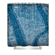 Vintage Manhattan Street Map Blueprint Shower Curtain