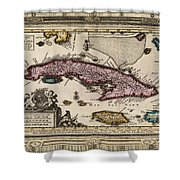 Vintage Map Of Cuba Shower Curtain