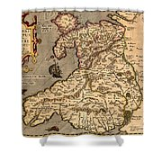 Vintage Map Of Wales 1633 Shower Curtain