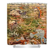Vintage Map Of Yellowstone National Park Shower Curtain