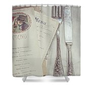 Vintage Menu Cards Knife And Fork Shower Curtain