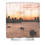 Vintage Miami Skyline Shower Curtain