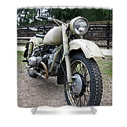 Vintage Military Motorcycle Shower Curtain