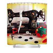 Vintage Mini Sewing Machine Shower Curtain