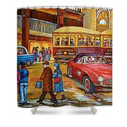 Vintage Montreal-st.catherine And Union-couples And Streetcars Shower Curtain