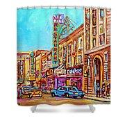 Vintage Montreal Street Saint Catherine Street Downtown Summer City Scene Carole Spandau Shower Curtain