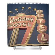Vintage Motel Sign Holiday Motel Square Shower Curtain
