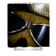 Vintage Motorcycle Goggles Shower Curtain