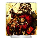 Vintage Original Coca Cola Red Santa Claus Poster Shower Curtain