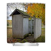 Vintage Outhouse Alongside A Historical Country School In Southwest Michigan Shower Curtain