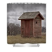 Vintage Outhouse Behind A Historical Country School In Southwest Michigan Shower Curtain