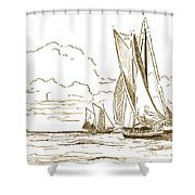 Vintage Oyster Schooners  Shower Curtain
