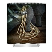 Vintage Pearls And Shoes Shower Curtain