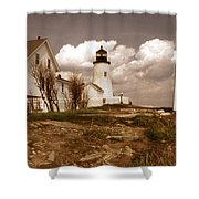 Vintage Pemaquid Point Lighthose Shower Curtain