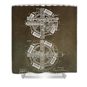 Vintage Phonograph Patent Shower Curtain