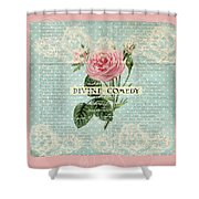 Vintage Pink Roses Shower Curtain