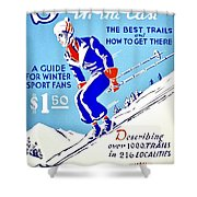 Vintage Poster - Sports - Skiing Shower Curtain