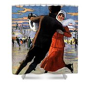 Vintage Poster Couples Skating At Christmas On Frozen Pond Shower Curtain