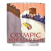 Vintage Poster - Olympics - Lake Placid Bobsled Shower Curtain