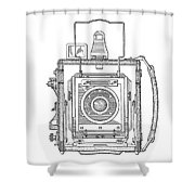 Vintage Press Camera Patent Drawing Shower Curtain