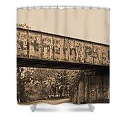 Vintage Railway Bridge In Sepia Shower Curtain