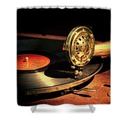 Vintage Record Player Shower Curtain