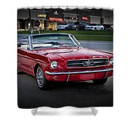 Vintage Red 1966 Ford Mustang V8 Convertible  E48 Shower Curtain