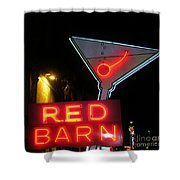 Vintage Red Barn Neon Sign Las Vegas Shower Curtain