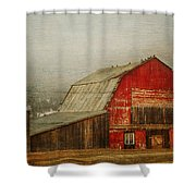 Vintage Red Barn Shower Curtain