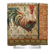 Vintage Rooster-a Shower Curtain