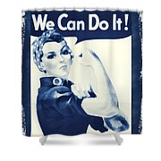 Vintage Rosie The Riveter Shower Curtain by Dan Sproul