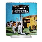 Vintage Route 66 Diner Sleeper Shower Curtain
